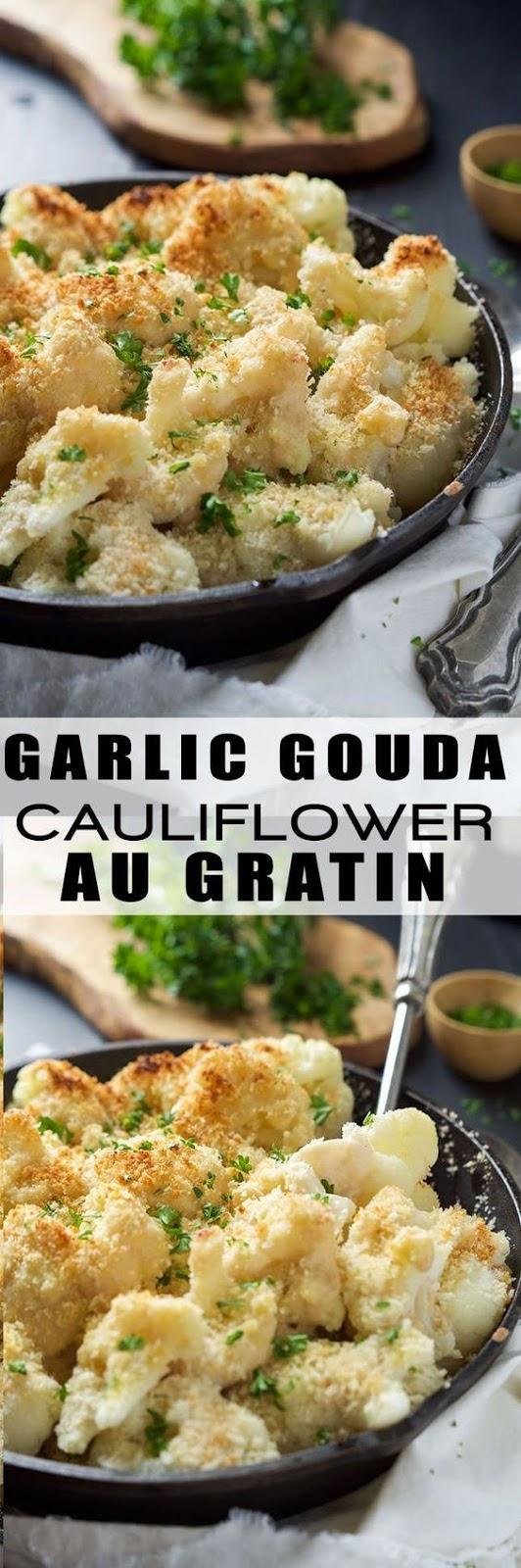 GARLIC GOUDA & PARMESAN CAULIFLOWER AU GRATIN