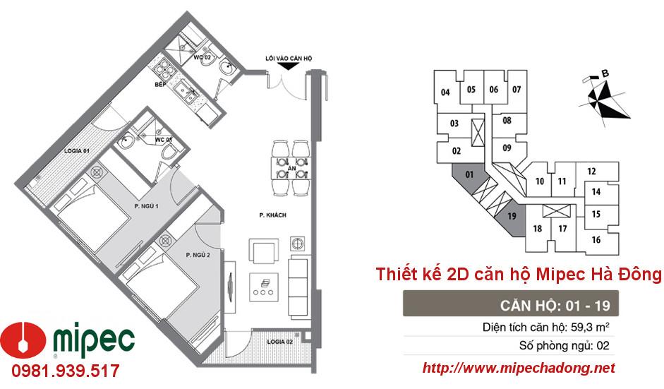 Hình ảnh Thiết kế căn hộ Mipec Hà Đông tòa M1 Căn 01 và 19
