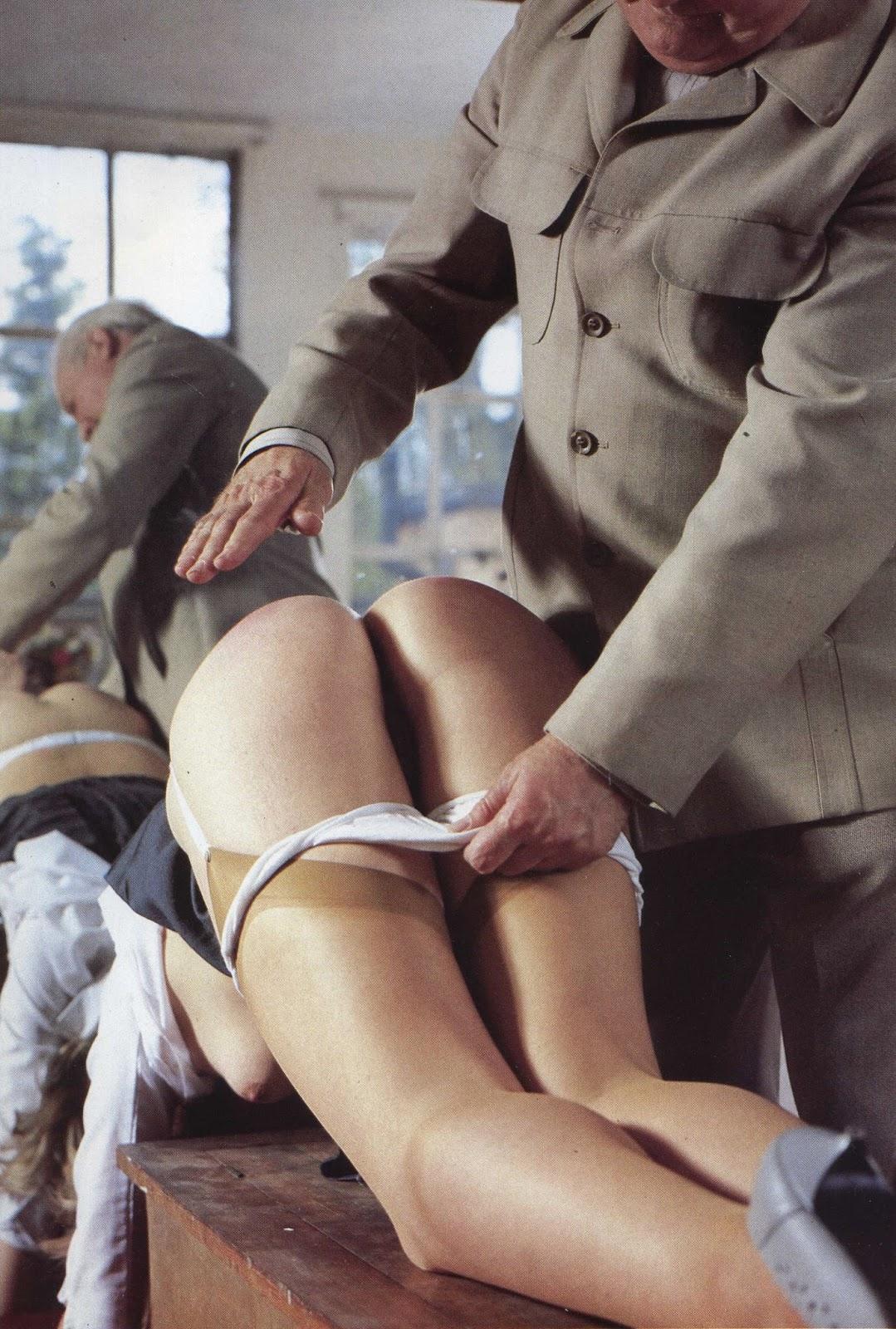 Girls spank boy
