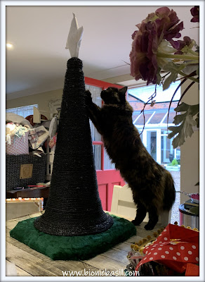 Catmas Crafting with Cats Special ©BionicBasil® Catmas Tree Scratcher with Velcro Catnip Ornaments - Snoopervisor Pandora