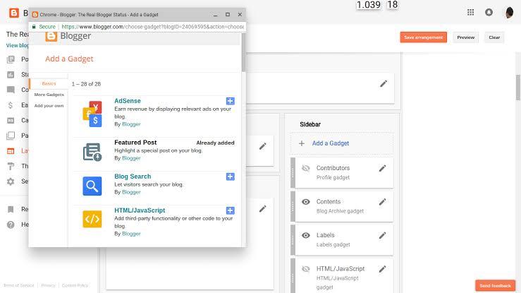 HTML/JavaScript Gadget