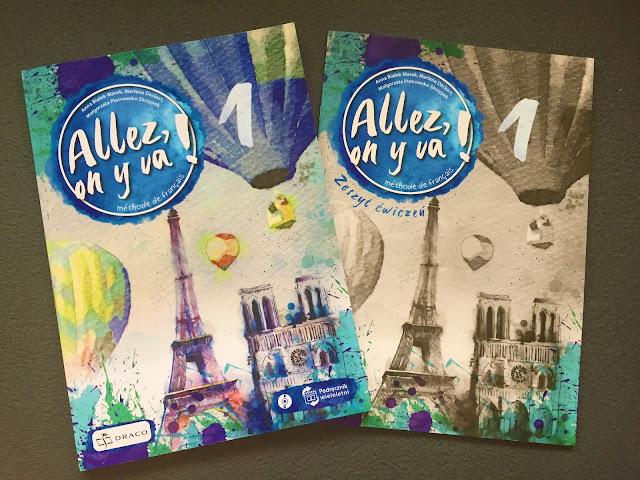 """Recenzje #149 - """"Allez, on y va ! 1"""" - okładka podręcznika oraz zeszytu ćwiczeń - Francuski przy kawie"""