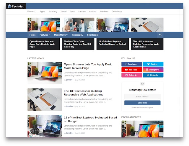 Techmag Website optimization Friendly Blogger Template 2020 | Blogger Template For AdSense Approval