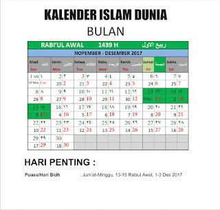 Kalender Islam Bersatu Bulan Rabiul Awal 1439 H
