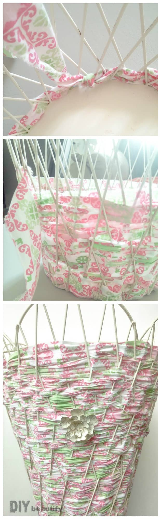 weave fabric in and out of the wire basket