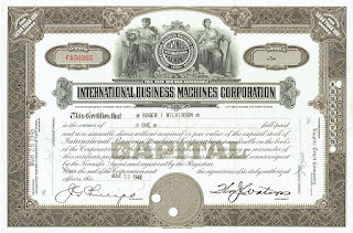 IBM stock certificate with facsimile signature of Thomas J Watson