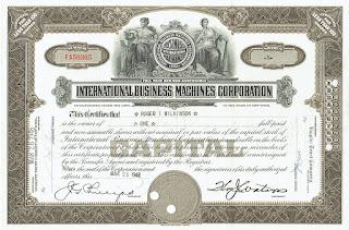 IBM stock certificate with facsimile signature of Thomas J Watson