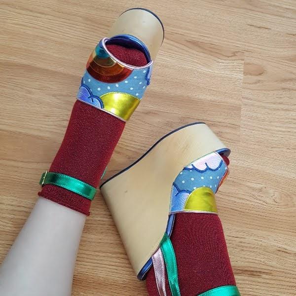 bright rainbow sun and cloud platform shoes