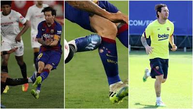 Lộ lý do Messi nổi giận, đẩy ngã đối thủ: Đau lòng vết xước dài trên chân 2