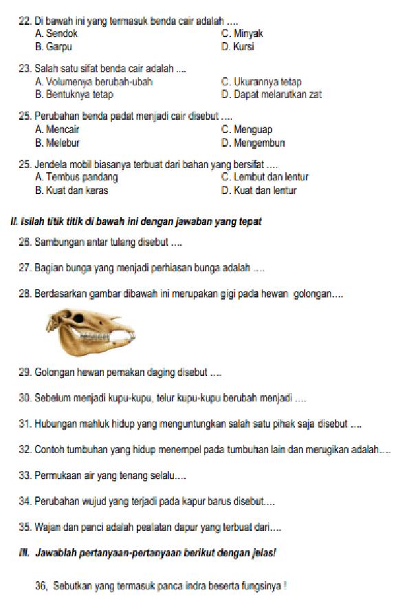 Soal Dan Jawaban Latihan Uas Pas Ipa Kelas 4 Semester 1 Gasal Prestasi Pelajar Indonesia