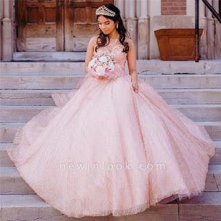 Encantadores apliques de encaje cariño perlas rosas Vestidos largos de quinceañera