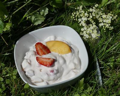 Joghurt mit Erdbeere und Nektarine