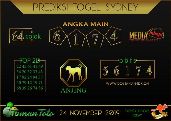 Prediksi Togel SYDNEY TAMAN TOTO 24 NOVEMBER 2019