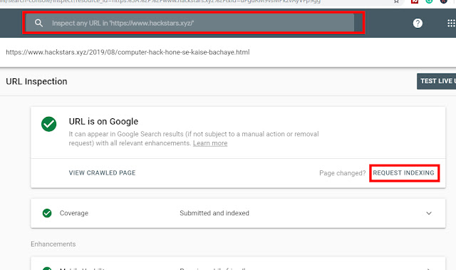 How To Manually Index Blogger Post Url In Google Search Console 2020
