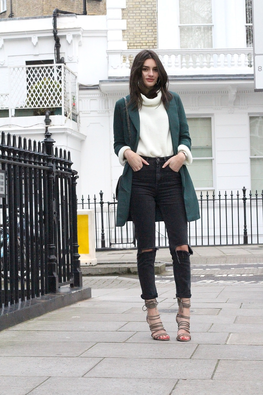 personal style ripped jeans and roll neck in winter