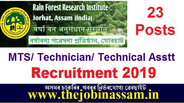 Rain Forest Research Institute, Jorhat Recruitment 2019
