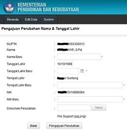 Edit Nama & Tanggal Lahir PTK