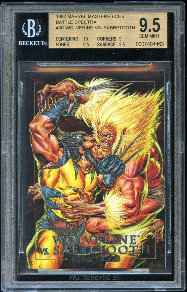 d7c7757ae86 Graded Marvel Cards  1992 Marvel Masterpieces Battle Spectra Etch ...