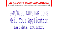 GNM or B.Sc Nursing Jobs in Air India Air Transport Services Limited