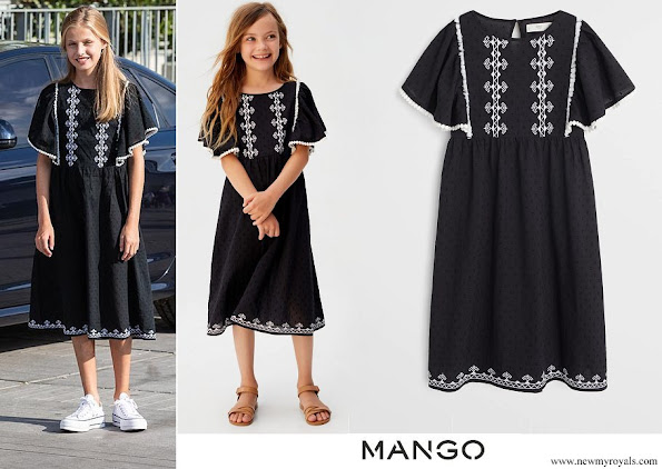 Crown Princess Leonor wore Mango Plumeti embroidered dress