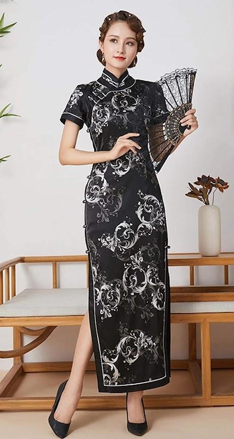 Women's Black Cheongsam Qipao Dresses