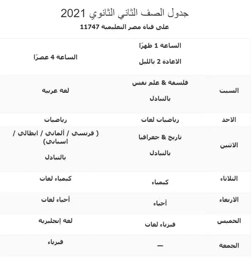 مواعيد برامج قناة مصر التعليمية 2021 للصف الثانى الثانوى