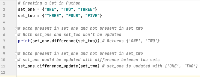 Difference between two sets in Python