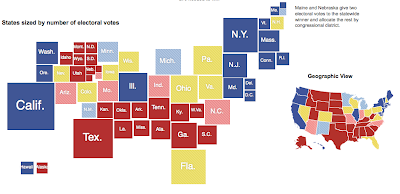 Maps side by side with red, blue and yellow states for Romney, Obama and up for grabs, one with geographic outlines, the other with scaled squares for each state