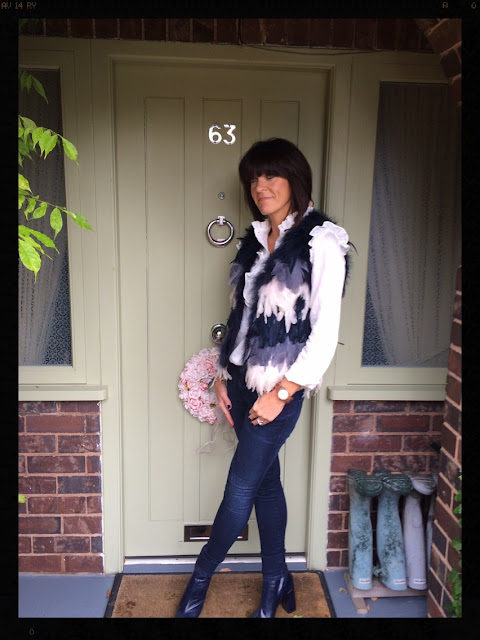 My Midlife Fashion, Topshop Ombre Feather Gilet, H and M Ruffle Shirt, Zara block heel ankle boot, Jord Fieldcrest Zebra & Maple Watch