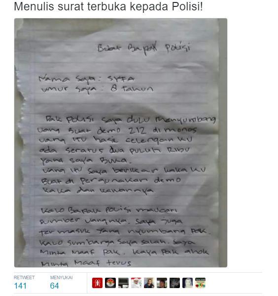 Menyentuh... Surat Gadis Kecil yang Ikut Sumbang Aksi 212 untuk Pak Polisi