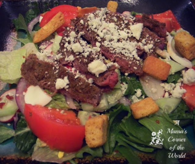 Homemade Grilled Black & Bleu Steak Salad