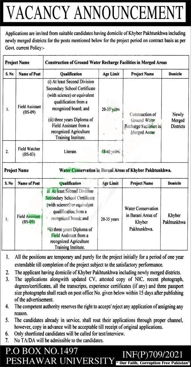Jobs in Directorate General Soil and Water Conservation KPK 2021