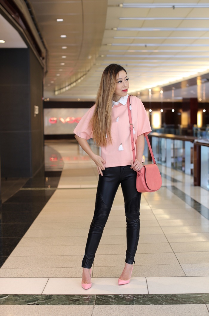 Sister Jane Rituals Double Layer Shirt Top With Tassel Detail, pink saddle bag, christian louboutin so kate pink pumps, blank denim moto pants, baublebar ring, spring outfit, new york fashion week
