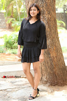 Actress Hebah Patel Stills in Black Mini Dress at Angel Movie Teaser Launch  0097.JPG