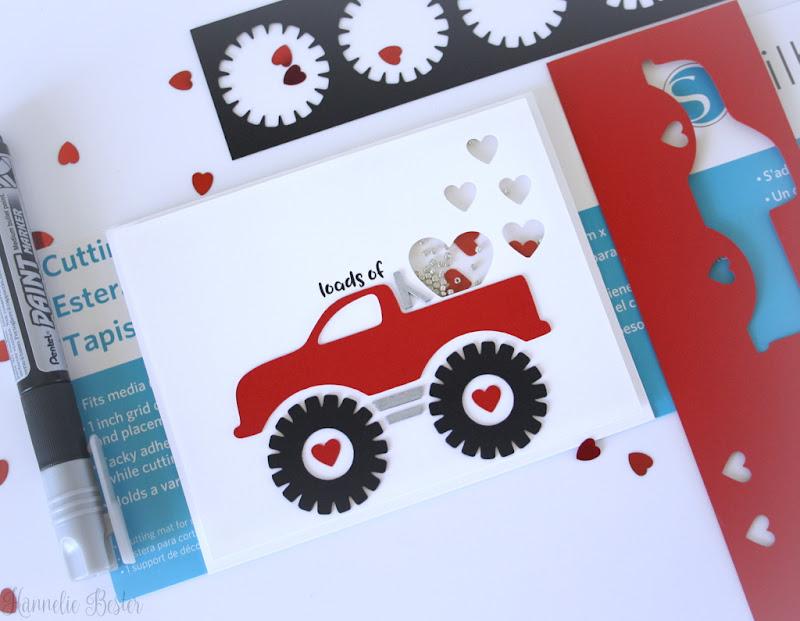 Valentine monster truck : Shaker card