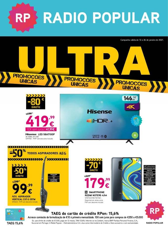 Folheto Rádio Popular - Ultra, promoções únicas - de 12 a 26 janeiro