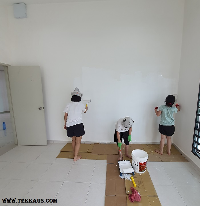 Painting a house with kids