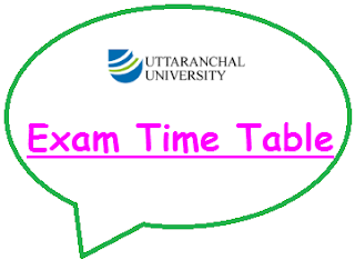 Uttaranchal University Time Table 2021