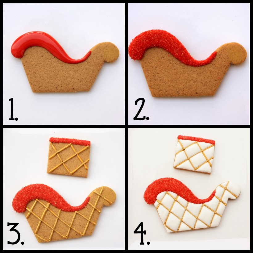 step by step how to make gingerbread 3D sled
