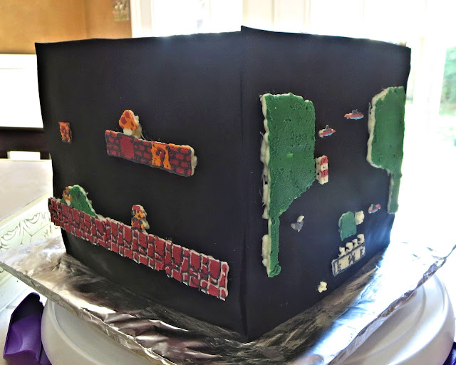 Retro Video Game Cake - Showing Mario and River Raid Sides