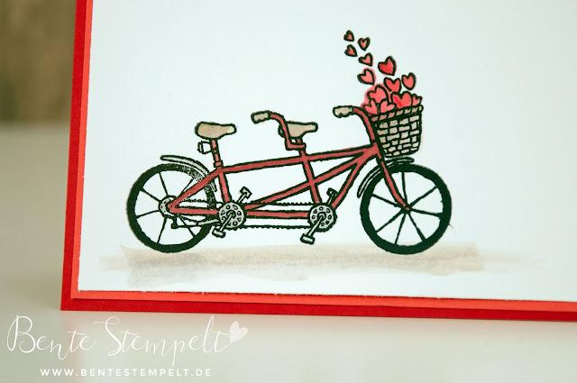 Stampin Up Aqua Painter Watercolor Aquarell Wasserfarben Gemeinsam Start pedal pusher Glück zu zweit Tandem Fahrrad SA B Salabration sale-a-bration