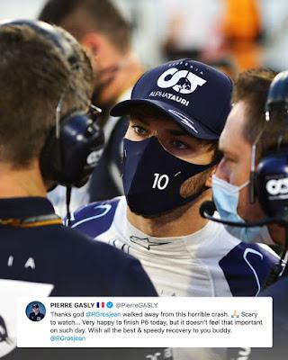 Pierre Gasly about Grosjean crash