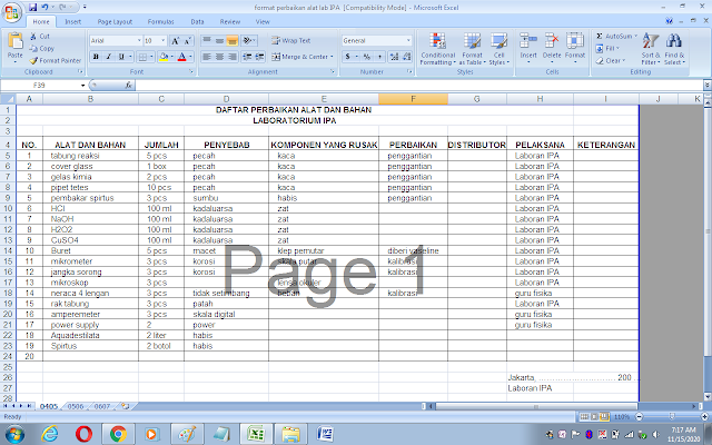 Daftar perbaikan alat dan bahan rusak di laboratorium IPA