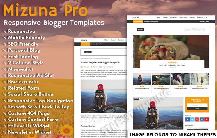Mizuna Responsive Blogger Template