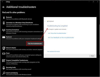 Keyboard Troubleshooter Windows 10