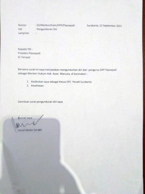 Surat pengunduran diri Zainal Abidin
