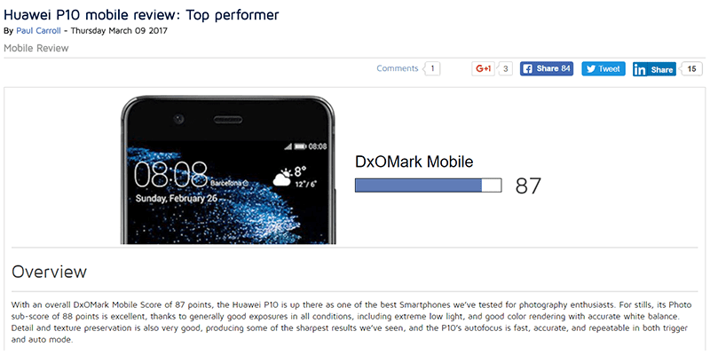 Huawei P10 Got A High Camera Score Of 87 At DxOMark!