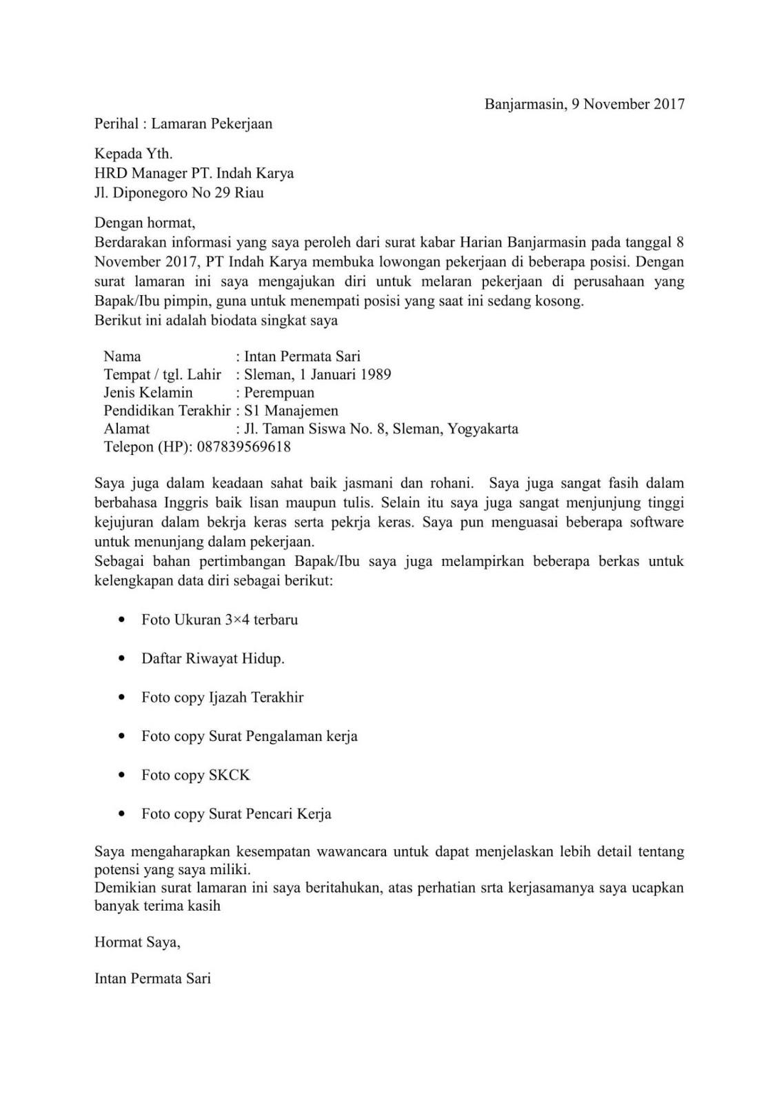 Download Contoh Surat Lamaran Kerja Pdf Doc Terbaik 2020 Saungsurat
