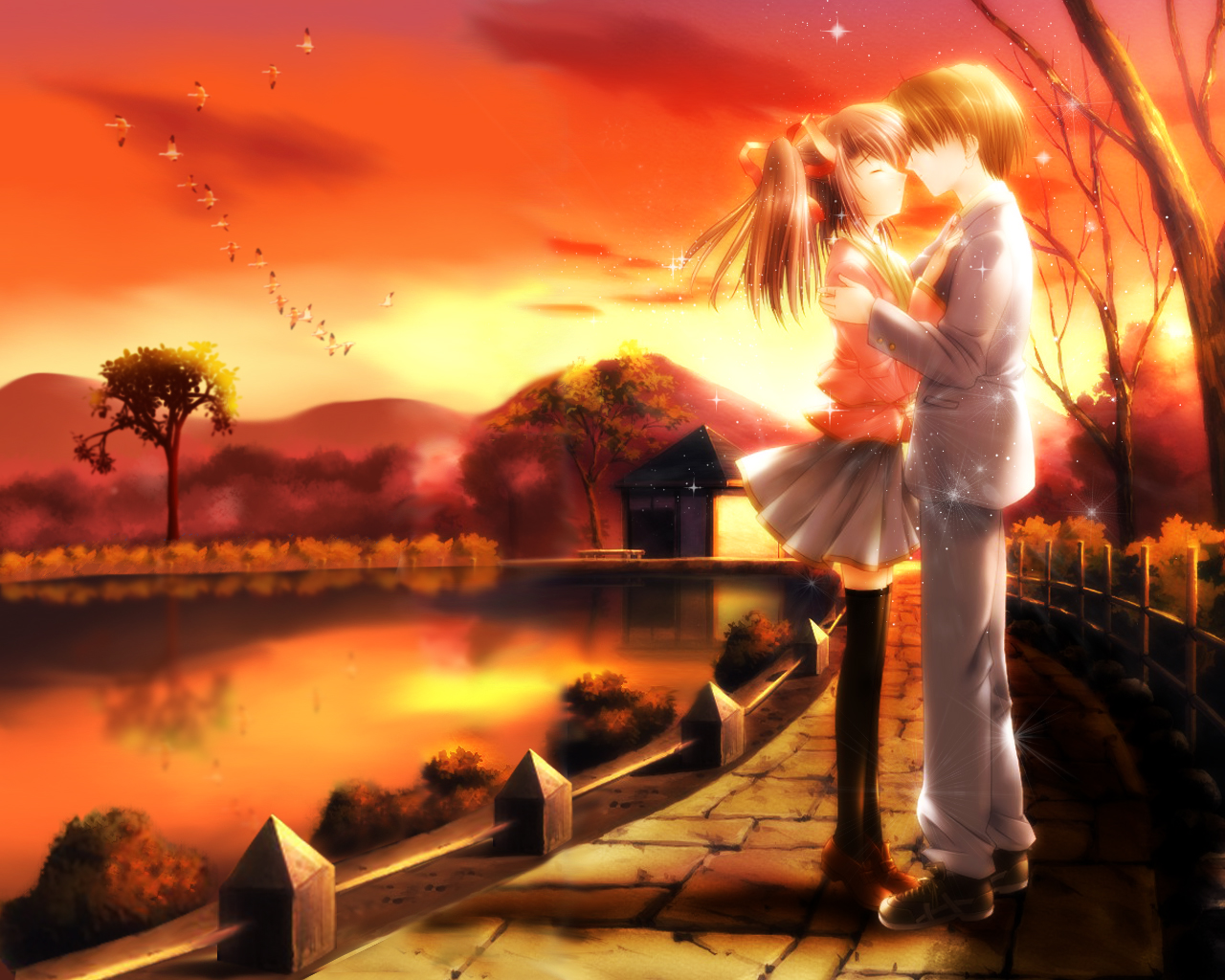 Romantic Gf Bf Love Wallpaper : Romance Anime Love couple kissing images HD