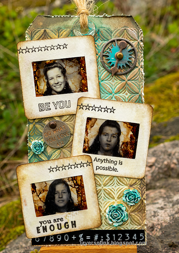 Layers of ink - Photo Slide Frames Tag Tutorial by Anna-Karin Evaldsson. With Simon Says Stamp Mix and Match Squares Stamp set.